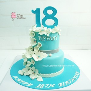 2 layers Tiffany Blue 18th Birthday cake