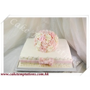 Roses flowers ball wedding cake