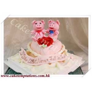 Cute Piggy Heart-shaped Cushion Cake