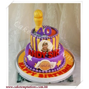 2 Layers Basketball Star Birthday Cake