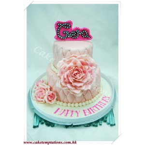 Elegant Chanel Pattern with Beautiful Roses Cake