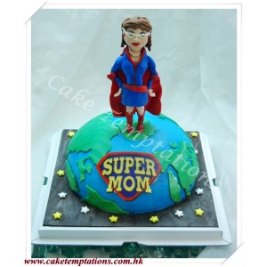 3D Earth Cake with Super Woman Figure