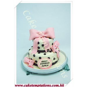 Beautiful Polka dots & ribbons 2 layers cake