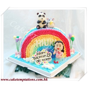 Beautiful Rainbow w. Cute Animals & Cartoon Figure