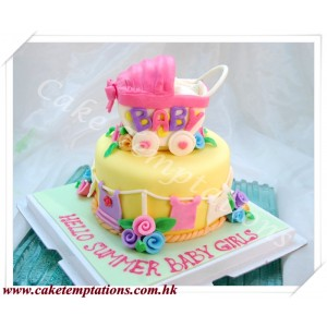 Cute  Baby Carriage Cake