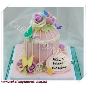 Beautiful Bird Cage w. Pink Roses Cake