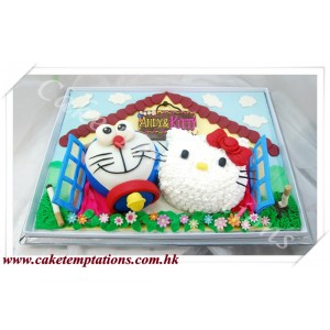 Hello Kitty & Doraemon Happy Family Cake