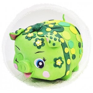 Mini Green Forest Fairy Piggy Bank Cake