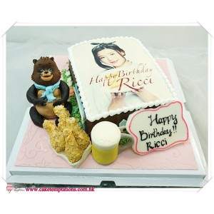 Photo Cake - Raccoon , Fried Chicken & Beer