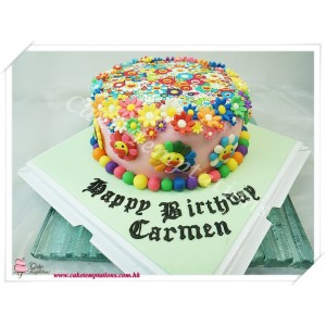 Photo Print - Cartoon flowers birthday cake