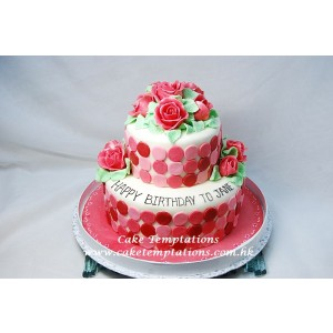 2 Layers Deep Pink Roses Cake