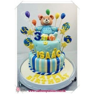 2 Layers Cartoon Bear Birthday Cake