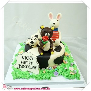Relaxing Bear, Snoopy & Lu Sucre Rabbit Cake