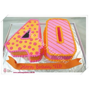 Number 40 Birthday Cake