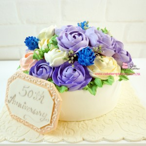Purple- Elegant flowers celebrations cake