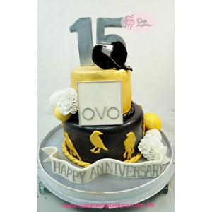 Stylish Gold Bird Celebration Cake