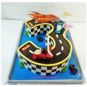 "Number ""3"" Shaped Cake w. Mini Racing Cars ."