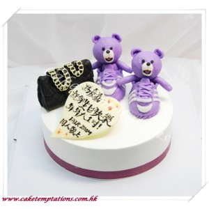 Mini CHANEL Handbag w. adidasxJeremy Scott JS Bears (Purple) Shoes Cake