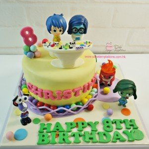 Inside Out 2 layers theme cake