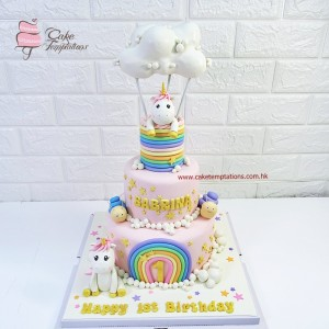 2 tiers Hot Air Balloon Unicorn Cake