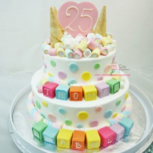 2 layers Lovely 25 cake