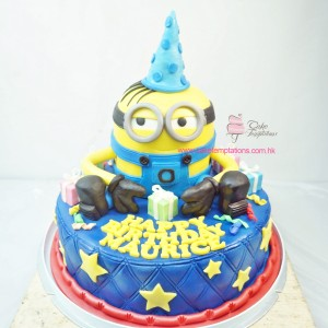 2 layers minion cake
