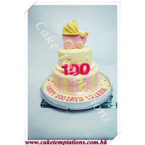 100 days 2 Layers baby carriage cake -Pink Color