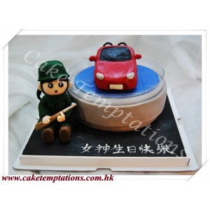 Mini Porsche Boxster Red Car with Soldier Cake