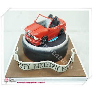 Mini Red BMW Cake