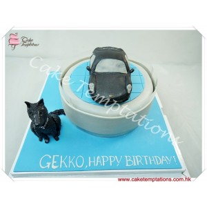 Mini Porsche Cayman S & Dog Cake