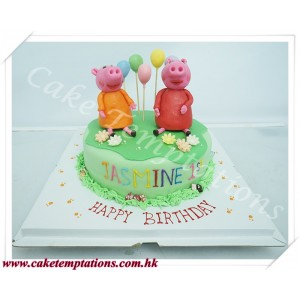 Peppa Pig - Two Girl Birthday Cake