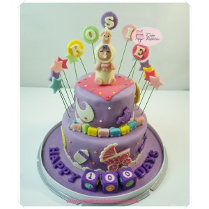 2 Layer (Purple Color) 100 Days Cake