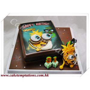 Little Pineapple & Little Worm Semi-3D Cake