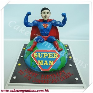 3D EARTH cake with super man figure