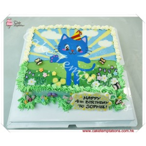 Cat Cartoon Drawing Cake