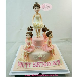 Beautiful Ballet Dancers Birthday Cake