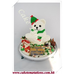 Santa & His Little Helper & Friends X'mas Cake
