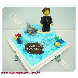 Surfing with sharks LEGO cake