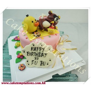 Little Rilakkuma w. Little Kiiroitori Cake