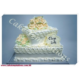 2 layers elegant roses square-shaped wedding cake
