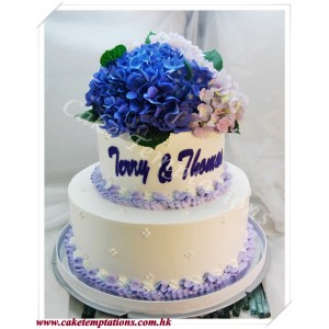 Purple Hydranga Wedding Cake