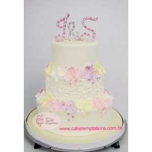 3-Tier Pastel Colour Floral Wedding Cake
