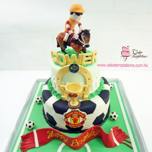 2 tiers Horse racing & football themed cake