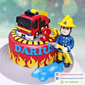 Fire Truck With Fireman Cake