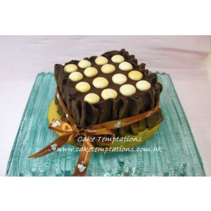 Rich Chocolate Mousse Cake topped with Macaroon