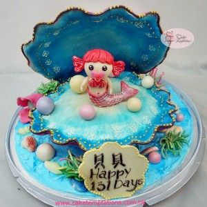 3D Large Shell W. Mermaid Baby Cake