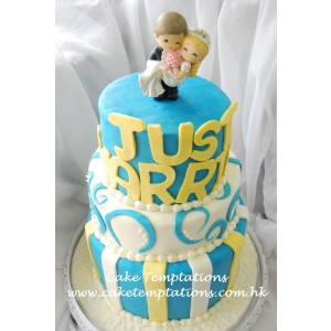 Just Married Madhatter 3-tiers Wedding Cake