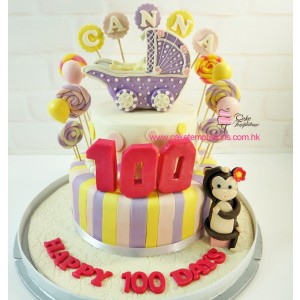 100 days 2 layers baby Carriage cake with monkey