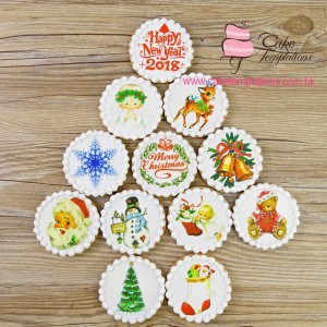 Assorted  Xmas  photo print icing cookies