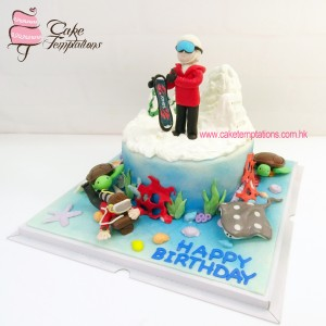 3D Diving & Ice skiing cake